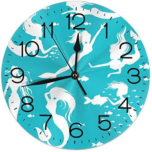 NR Weiße Meerjungfrauen auf Stiller Wanduhr des Türkises, 10 Zoll-Nicht tickende dekorative Wanduhr batteriebetrieben für Schlafzimmer