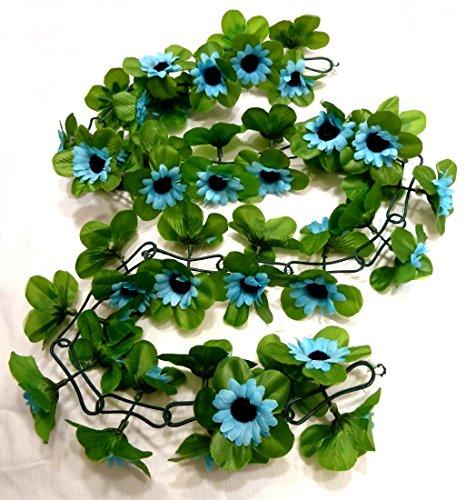 CBK-MS®. Blumengirlande Sonnenblumen blau ~ ca. 120 cm ~ zum verschönern Ihres Fahrrades oder Ihrer Wohnung