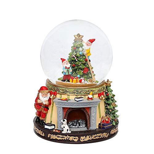 Unbekannt 18,5 cm Poly Schneekugel Santa am Kamin & Wichtel am Tannenbaum mit Sound 70488