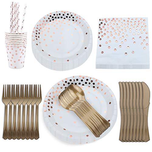 aovowog Partygeschirr Einweggeschirr Pappteller Set Kindergeburtstag Plastikbesteck Servietten Pappbecher Rosegold Folie für Party Hochzeit (8 Gäste)