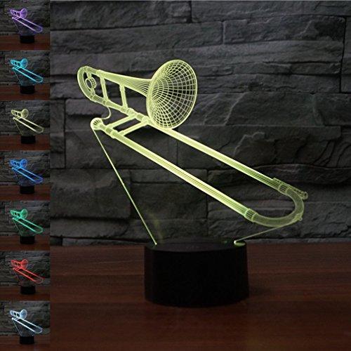 Ilusión óptica 3D Trombón Luz de Noche 7 Colores que Cambian USB Poder Touch Switch Decor Lámpara LED Mesa Lámpara Niños Juguetes Cumpleaños Navidad Regalo