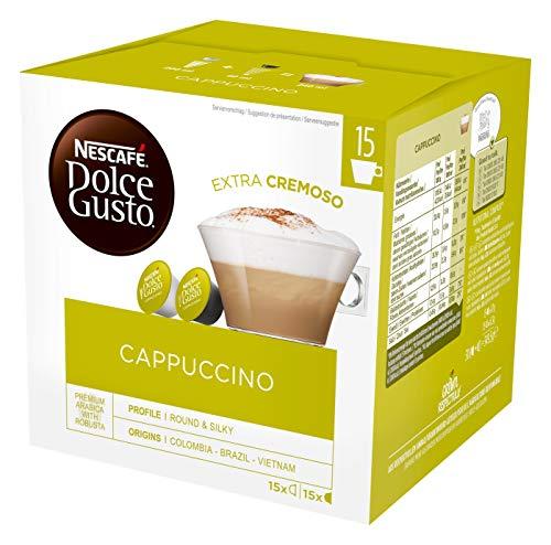 NESCAFÉ Dolce Gusto Cappuccino XXL-Vorratsbox 30 Kapseln ((15 Milch-, 15 Kaffeekapseln), 100% Arabica Bohnen, leichter Kaffeegenuss mit cremigem Milchschaum) 1er Pack (1 x 30 Kapseln)