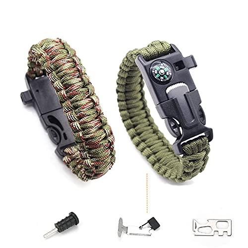 Pulsera De Supervivencia, Equipo De Salvamento Que Incluye Brújula, Cordón De Paraguas De 3,6 m,Mini sierr De Emergencia y Silbato (Verde Militar / Verde Camuflaje)