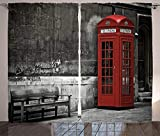 Waple Cortinas opacas ojete para sala de estar Cortinas de Londres, famosas botas telefónicas británicas en las calles de Londres, la vida de la ciudad 150*166cm Opaca Cortina para Habitación Térmica