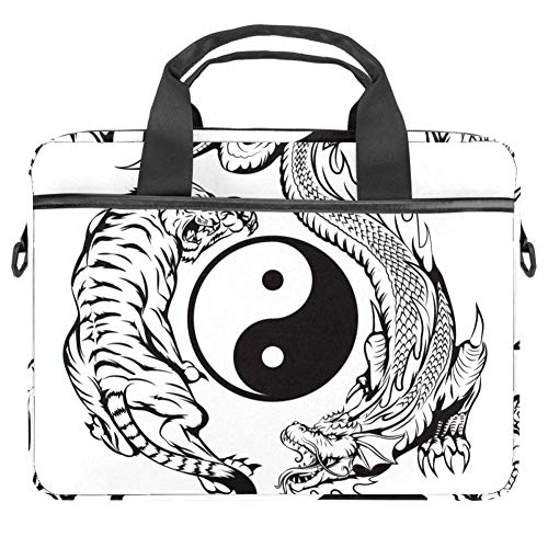 TIZORAX Laptoptasche mit Drachenmotiv und Yin-Yang-Symbol, mit Griff, 38,1 - 39,1 cm (15 - 15,4 Zoll)
