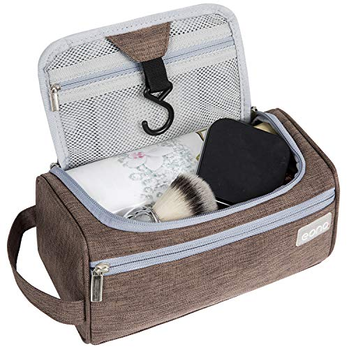 Eono by Amazon - Kulturtasche zum Aufhängen Toilettentasche Waschbeutel Rasiertasche Kulturbeutel für Damen und Herren, Braun