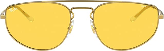 نظارة شمس بشنبر معدن وعدسات افييتور اصفر للجنسين من راي بان - ذهبي