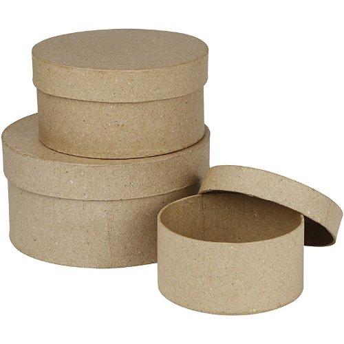 Creativ - Set de 3 cajas redondas de papel maché (10, 13 y
