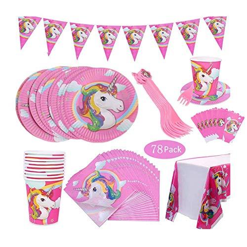 WENTS 78 Pezzi Unicorno Party Kit Compleanno Articoli per Feste Unicorno per Bambini Ragazze Festa di Compleanno Baby Shower Serve 10 Ospiti Stoviglie all'unicorno Forniture