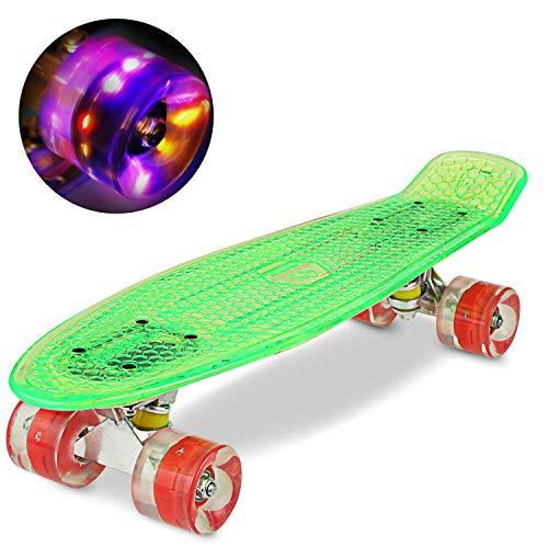 WeSkate 55CM Mini Cruiser Skateboard PlasticFlashing Deck mit LED Leuchten, Komplett Retro Skate Board für Jungen Mädchen Kinder Jugendkinder Erwachsene