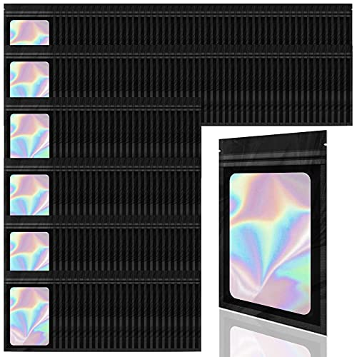 Allstarry 200 Pieces Holographic Foil Pouch Bags Resealable Smell Proof Zip Lock Sealing Aluminum Bag for Jewelry Food Storage (2.4 3.9 Inch) - Black