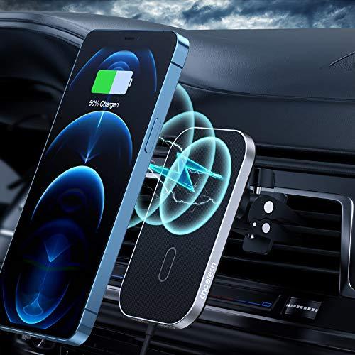 Magnetisches kabelloses Auto ladegerät Kompatibel mit iPhone 12/12 Pro/12 Mini/12 Pro Max,CHOETECH 7.5W Schnellladung Mag-safe Autohalterung Drahtloses Ladestation (Nutzung mit Magnet-Handyhülle)