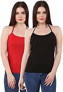 GRAPPLE DEALS Pack Of 2 Cotton Solid Halter Neck Camisole Soft High Fabric Camisole For Women And Girls.