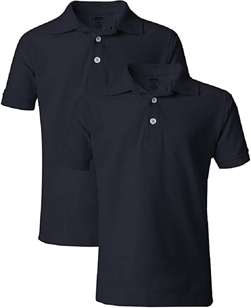 French Toast Boys' 2-Pack Short Sleeve Pique Polo Shirt (XS 4/5, Navy 2)