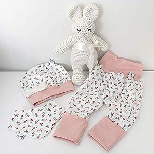 ANGEBOT Set – Hose, Schleifenmütze, Halstuch – Cremeweiß kleine Rosen (rose melange) Baby Mädchen