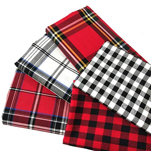 ZAIONE 5pcs Set 100% Cotton Buffalo PlaidTartan Fabric Fat Quarter Bundle 17.7' x 17.7' Yarn-Dyed Plaid Check Cloth Quilting Fabric for DIY Crafting Sewing Patchwork