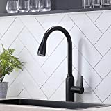 VAPSINT Modern Commercial Single Handle High Arc Oil Rubbed Bronze Pulldown Kitchen Faucet, Stainless Steel Kitchen Sink Faucets with Pull Down Sparyer