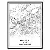 Damaskus Syrien Karte Wandkunst Leinwand drucken Poster