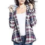 SDRYGHS Tops de Verano para Mujeres Camisa de Manga Larga Top A estrenar Moda Mujeres Classic Plaid de Manga Larga Sudadera con Capucha Camisas Blusa Cascular Cascular Top Blusa