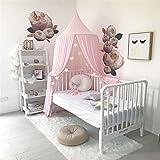 Ommda Moskitonetz Bett Kinder und Baby Betthimmel Moskitonetz Chiffon süß und romantisch für Kinderzimmer und Schlafzimmer mit Haarball Dekoration Rosa 240x50cm (HöhexDurchmesser) - 2