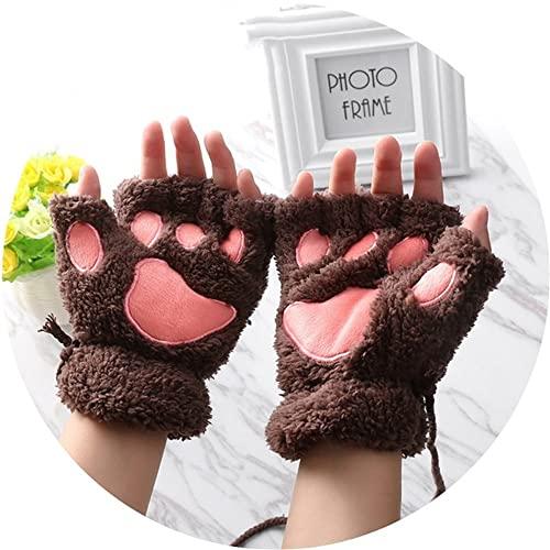1 Paar Frauen Mädchen Schöne Winter Warme Fingerlose Handschuhe Flauschige Bär Katze Plüsch Pfote Klaue Halbe Finger Handschuhe Mitten-Dark Coffee-One Size