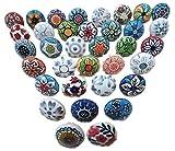 Knobsworld - Confezione da 30pomelli, in stile vintage, motivo floreale, in ceramica, pe...