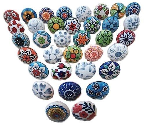 Knobsworld - Confezione da 30pomelli, in stile vintage, motivo floreale, in ceramica, per porta, armadio, cassetto e credenza