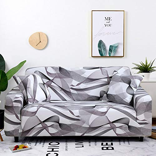 PPOS Stretch Sofa Cover for Living Room Geometric Slipcover Elastic Couch Cover for Different Shape Dust Protective Cover D10 3seats 190-230cm-1pc