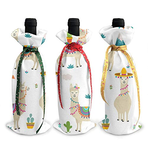 3pcs Christmas Wine Bottle Cover 3d Alpaca Cactus Flower Cushion Wines Bottles Decoration Bags For Xmas New Year Party Birthday Dinner