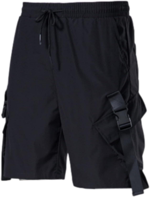 Segindy Men's Cargo Shorts Fashion Solid Color Casual Drawstring Elasticated Waist