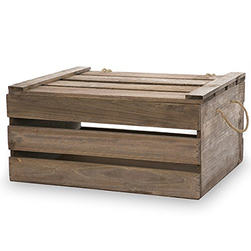 """The Lucky Clover Trading Antique Storage Box with Swing Lid, 15.25"""" L, Brown Crate, Natural Wood"""