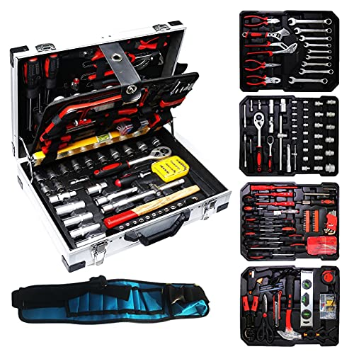 Complete Tool Set-Household Hand Tool Kit,4-Layer Tool Auto Repair Tool Set,Hand Tool Kit with Aluminum Set Bandage Design for DIY Project(with tool belt)