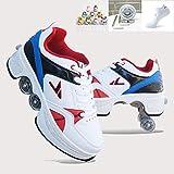 WLOWS Skating-Schuhe Für Männer Und Frauen,Roller Skates, Automatische Wanderschuhe Für Erwachsene Unsichtbare Riemenscheibenschuhe Skates Mit Zweireihigem Deform-Rad,EU35