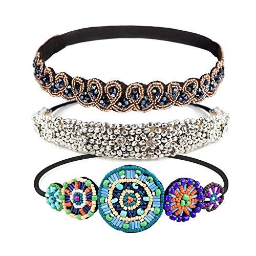 Women's Headbands/Hairbands, Rhinestone Beaded Elastic Headband for Women Hair Accessories, Handmade vintage headbands Fits for Most, 3 Styles (Grace)