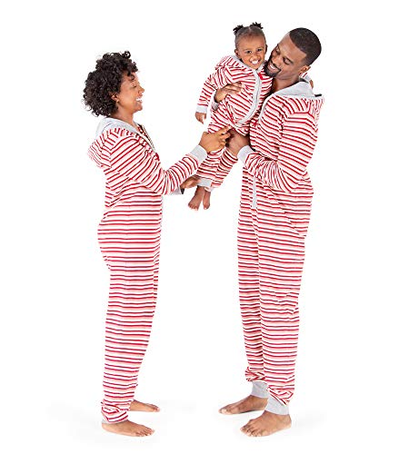Burt's Bees Baby Baby Jumpbees, Matching Family Jumpsuits, One-Piece Hooded Zip-Front Romper, Peppermint Stripe, 24 Months