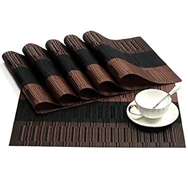 SHACOS Exquisite PVC Placemats Set of 6 Woven Vinyl Placemats for Dining Table Heat Resistant Table Mats Wipeable (6, Ombre Coffee and Black)