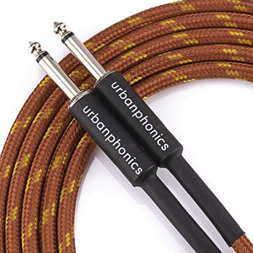Urbanphonics Professionelles Instrumenten Kabel für E-Gitarre, Bassgitarre, Keyboard Geflochtener Tweed von höchster Qualität 1/4 direkt Standard Buchse zu Buchse kupferfarbenen 3 m (10 Fuß)