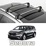 Roof Rack for Kia Sedona, Turtle V2 Cross Bars Vehicles with Flush Roof Rail, Silver Color, Strong, Safe, Durable, Low Profile, fits 2016-2017-2018-2019-2020-2021
