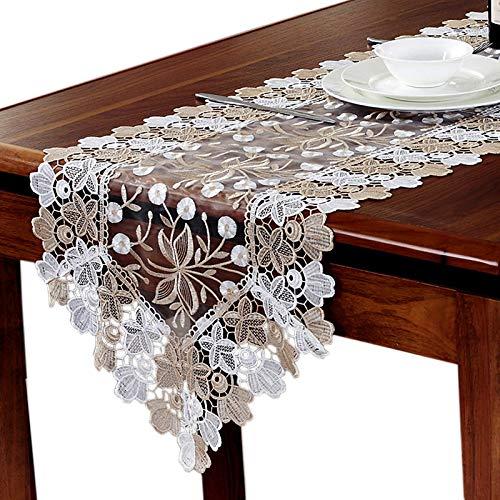 LEYIS Camino de Mesa 1 unids Lace Table Runner and Dresser Bufanda Bordado Rose Flor Rectángulo Manteles para la Fiesta de Bodas Decoración del Hotel (Size : 40x180cm)