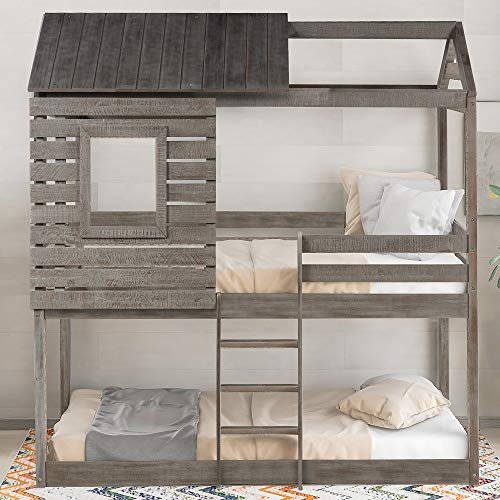 Low Bunk Beds Twin Over Twin Size, Wood Bunk Beds with Roof and Guard Rail for Kids, No Box Spring Needed (Rustic Grey Bunk Beds)