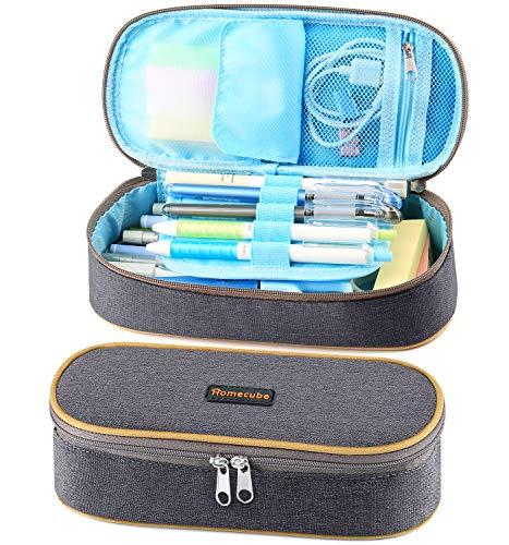 Homecube Gut Design große Kapazität Federmappe Schreibzeug Kasten Studenten Praktische Bleistifthalter (Grau)