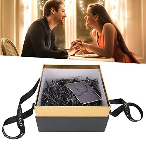 minifinker Caja de Almacenamiento de Regalo Elegante con Caja de Regalo de Cadena Ligera pequeña para Perfume(Black (Package A))