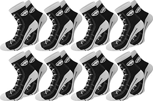 normani 6 Paar Socken im Schuh-Design mit vielen originalgetreuen Details Farbe Schwarz Größe 43/46