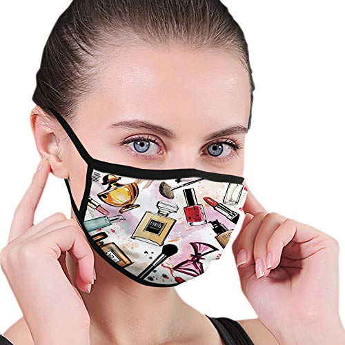 Comfortable Windproof mask,Fashion, Cosmetic and Makeup Theme Pattern with Perfume Lipstick Nail Polish Brush Modern,Coral White,Printed Facial decorations for Women and Men
