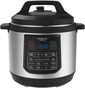 KUNG FU MASTER ELECTRIC PRESSURE COOKER 8.3 Qt WITH 7 IN ONE FUNCTIONS,15 PRE SET PROGRAMS,DUAL PRESSURE, AUTOMATIC KEEP-WARM, ENERGY EFFICIENT, INCLUDES:RICE SPOON,SOUP SPOON,MEASURING CUP & STEAMER