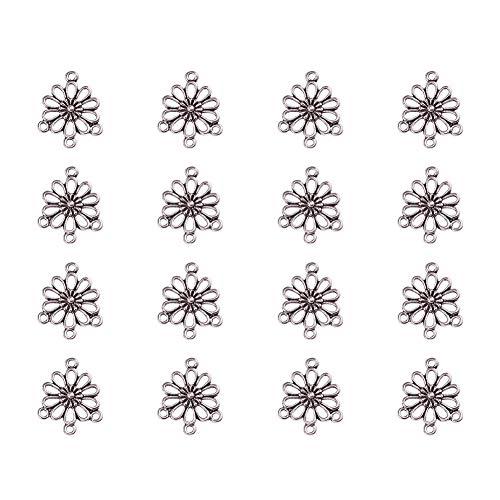 PandaHall 50PCS Connetori Componente Lampadario Link Ciondoli per Collane Bracciali in Lega Ciondoli Fiore Argento Antico Senza Piombo, Nichel e Cadmio 18 mm di Larghezza