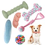 Dog Chew Toys for Puppies, 6 Pack Pet Teething Toys for Playtime and Teeth Cleaning, Squeaky Toys...