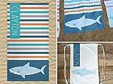 Personalized Shark Beach Towel with Bag, Shark Beach Towel, Shark Drawstring Bag, Beach Towel and Bag Set, Personalized Beach Towel for Kids, Kids Towel Set, Beach Blanket in a Bag, Beach Towel Set