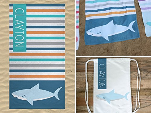 Personalized Shark Beach Towel with Bag image