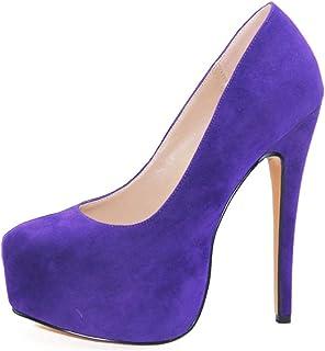 Dames Plateauzolen, Stiletto Damesschoenen Met Ronde Neus, Superhoge Hakken Van 16 Cm, Maat 34-46,Purple,37 EU